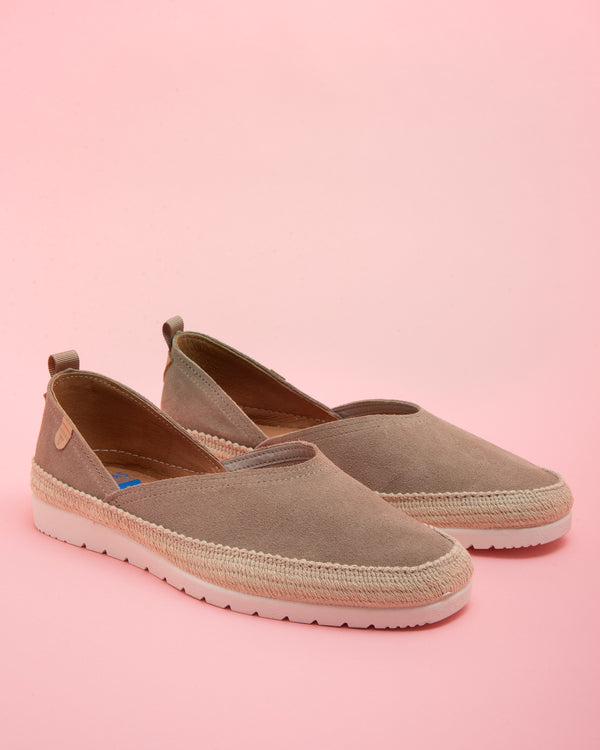 Nicole Suede flat - Taupe