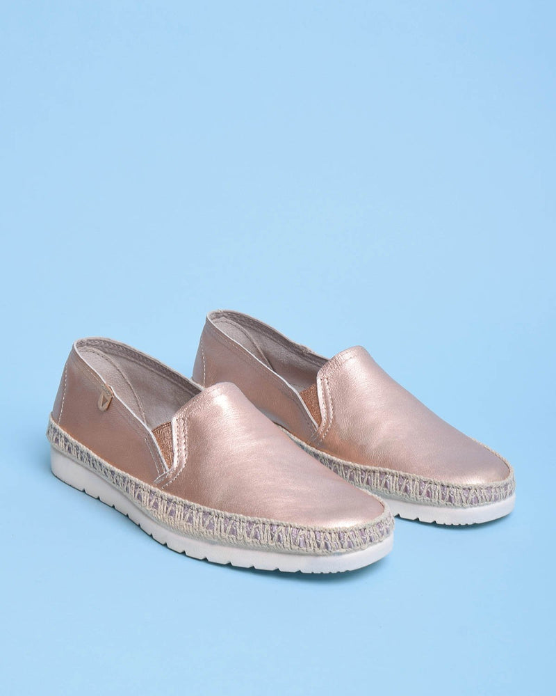 Nuria Metallic Leather Jute Wrapped Loafers - Rose Gold