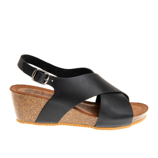 Oakland Cross Band Cork Wedge Sandal - Black