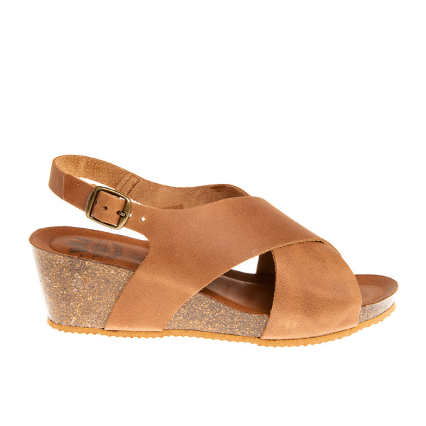 Oakland Cross Band Cork Wedge Sandal - BROWN