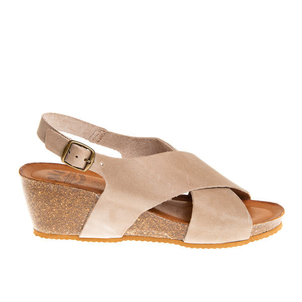Oakland Cross Band Cork Wedge Sandal - Taupe