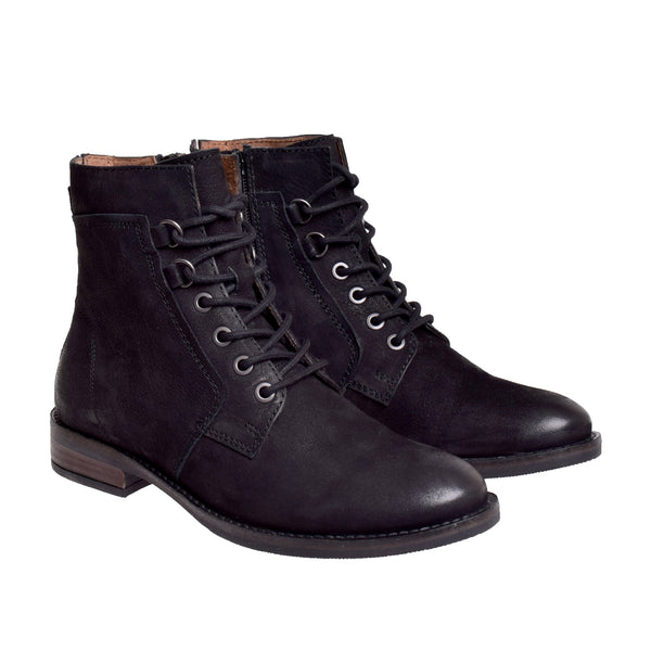 Piper Leather Side Zip Ankle Boot - Black - DNAFOOTWEAR