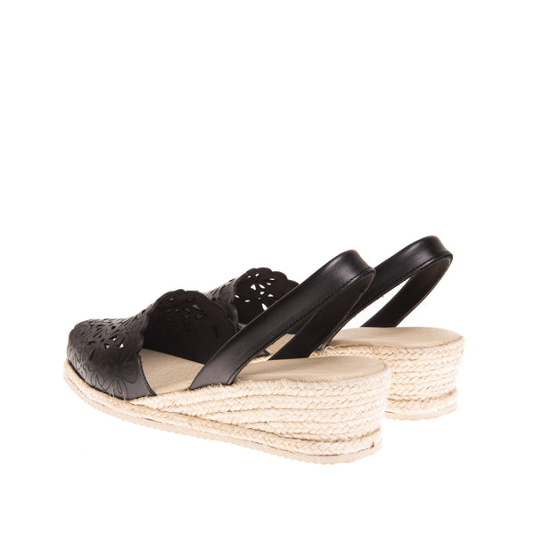 Preston Laser Cut Espadrille Wedge - Black