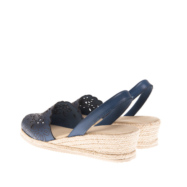 Preston Laser Cut Espadrille Wedge - Navy