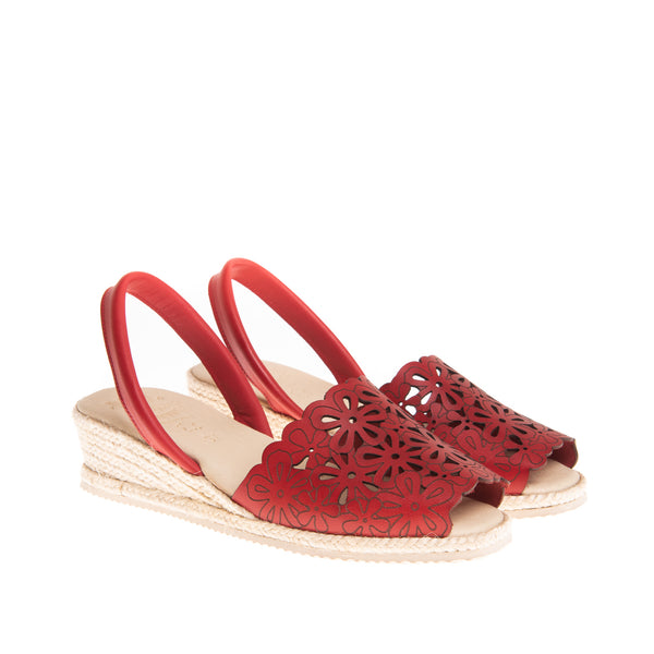 Preston Laser Cut Espadrille Wedge - Red