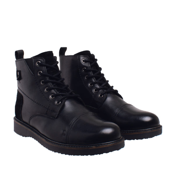 Reeve Waterproof Brogue Cap Toe Boot - Black
