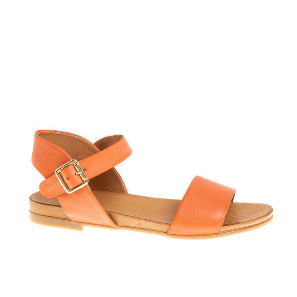 Rockaway Flat Leather Sandal - Coral