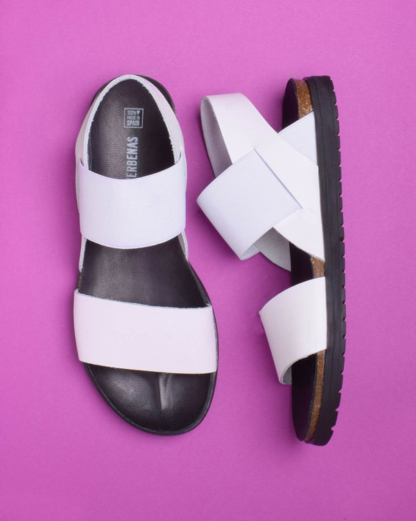 Talia Leather and Elastic Strapped Sandals - White
