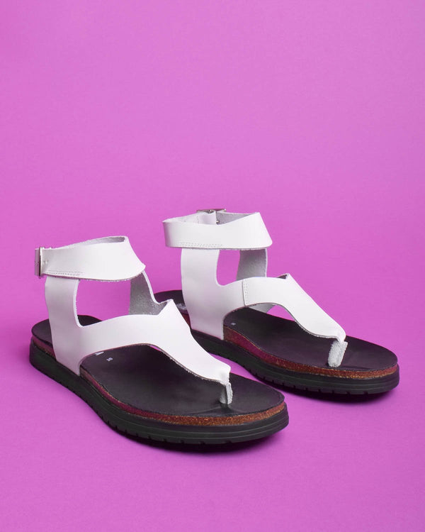 Tesa Vachetta Leather Thong Gladiator Sandals - White