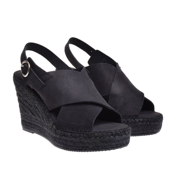 Thompson High Espadrille Wedge Sandal - Black - DNAFOOTWEAR