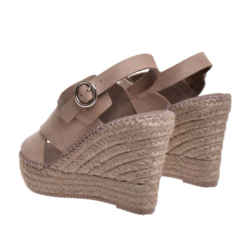 Thompson High Espadrille Wedge Sandal - Taupe - DNAFOOTWEAR