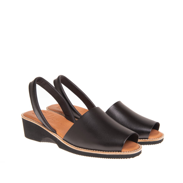 Tiffany Mid Heel Wedge Sandal- Black