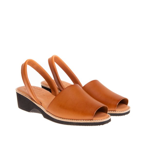 Tiffany Mid Heel Wedge Sandal- Cognac