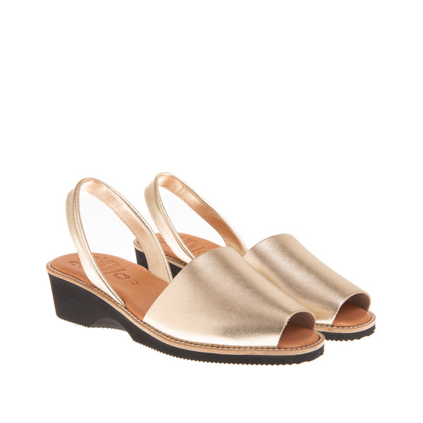 Tiffany Mid Heel Wedge Sandal- Gold