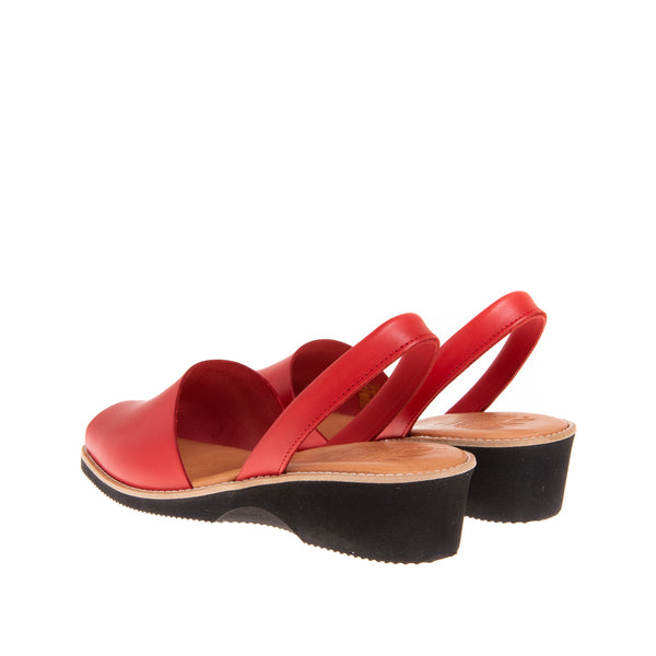 Tiffany Mid Heel Wedge Sandal- Red