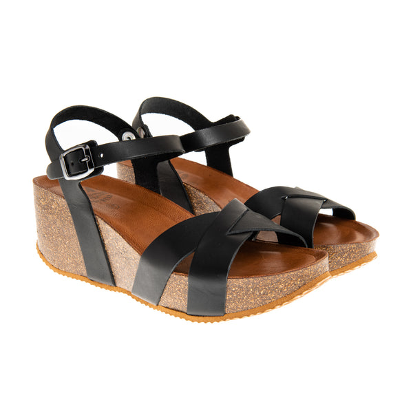 Tillary Cross Strap Wedge Platform Sandal - Black