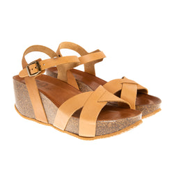 Tillary Cross Strap Wedge Platform Sandal - Tan