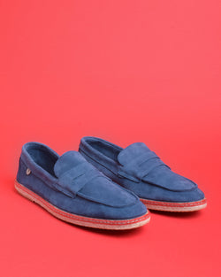 Tirson Suede Penny Loafers - Blue