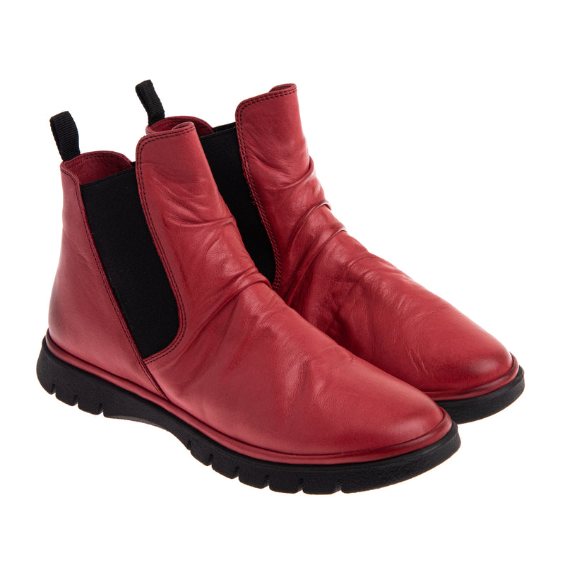 Women's Varick Rouched Chelsea Boot - Red