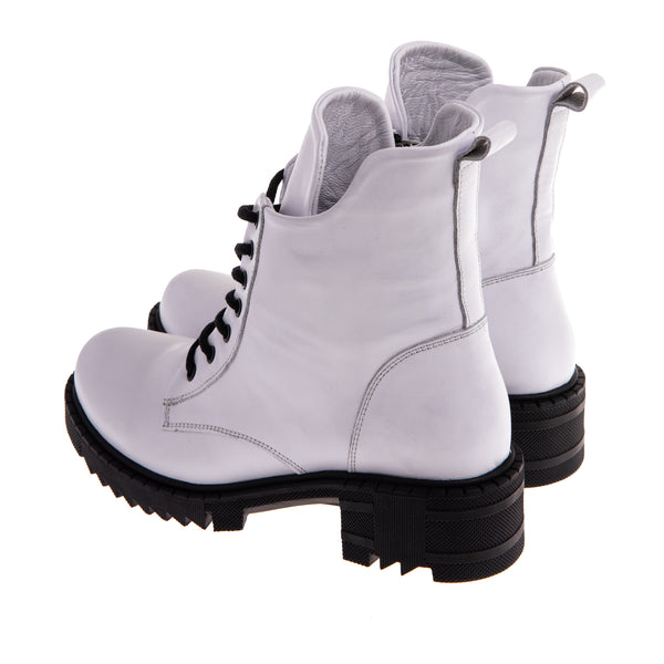 Women's Vernon Lace Up Combat Boot - White