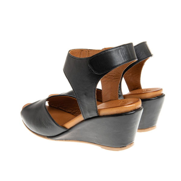 Whitney Mid Heel Wedge with Velcro Closure - Black