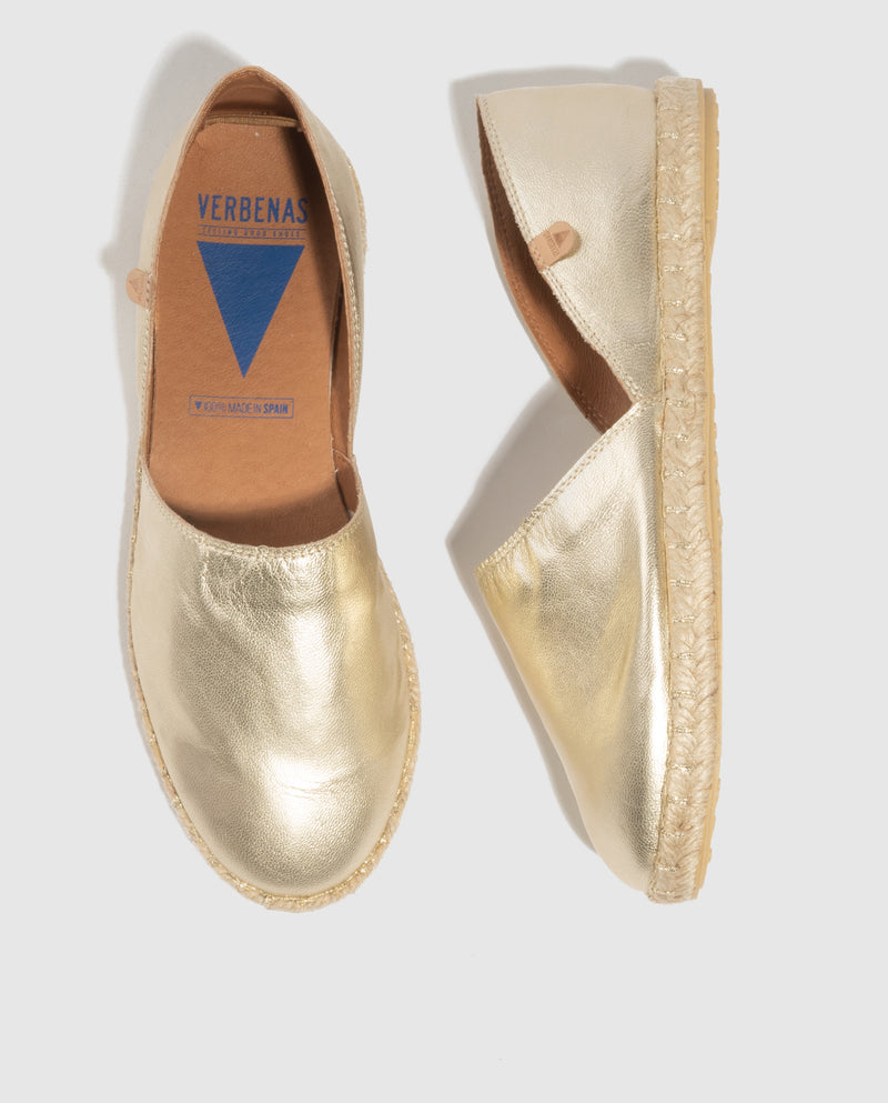Carmen Metallic Leather Slip On - Gold Metallic