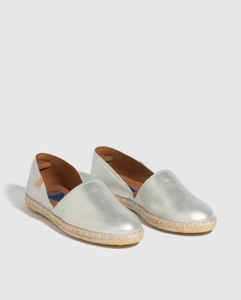Carmen Metallic Leather Slip On - Silver Metallic