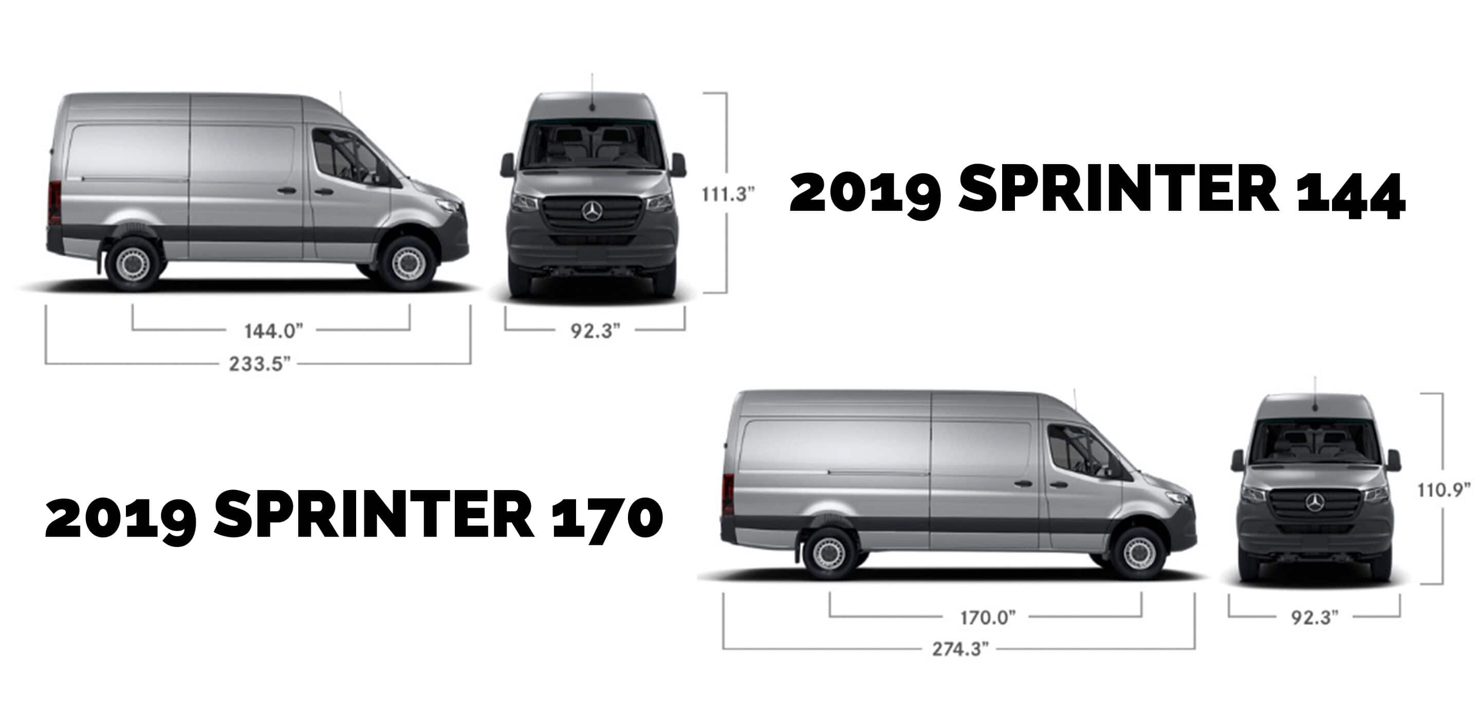 Sprinter 144 vs. 170 Specifications
