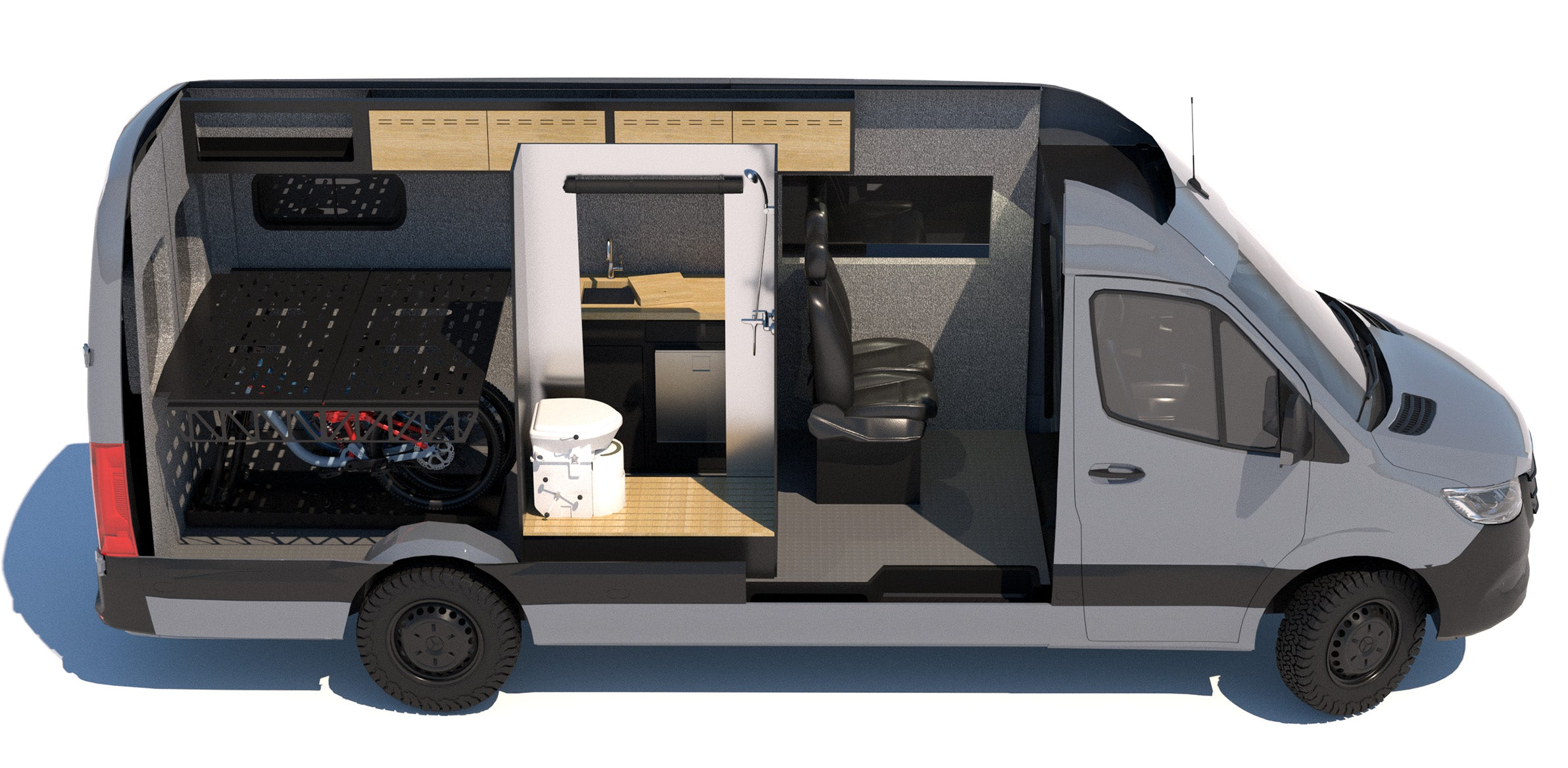 Sprinter 170 with Flarespace and Bathroom Layout