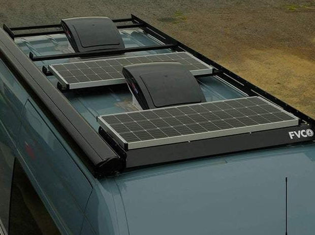 Sprinter Van with FVC Low Pro Roof Rack and Solar Panels