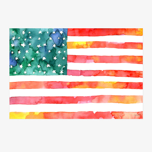 Watercolor of American Flag