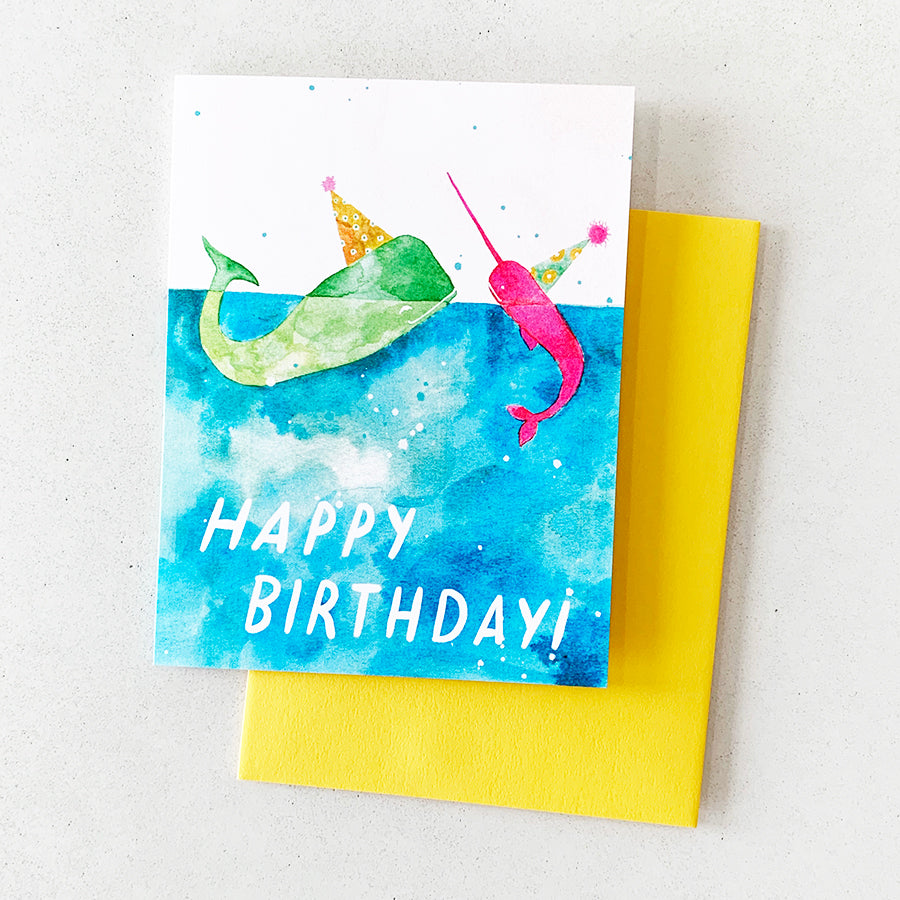 Birthday Card Narwhals