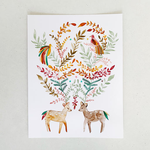 Folk Deer in Autumn | ORIGINAL ART