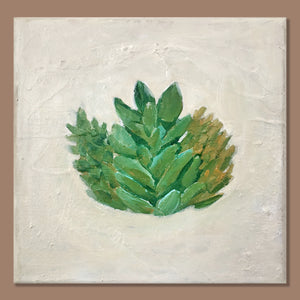 """Succulent"" - Original Painting on Canvas, 8x8"", One available"