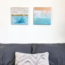 "Load image into Gallery viewer, ""Sunset Beach"" - Original, Painting on Canvas, 12x12"", One available"