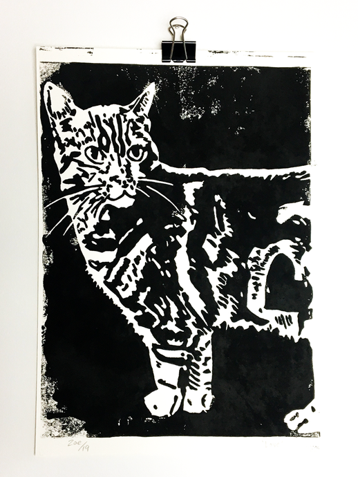 Love Distressed, Cat Linoprint