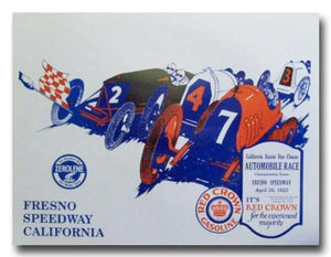1923 Fresno Speedway Board Track Racing poster print