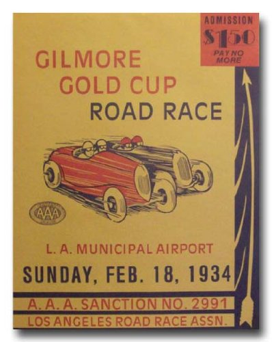 1934 Gilmore Gold Cup Racing poster print