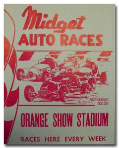 1951 Orange Show Stadium Midget Racing poster print