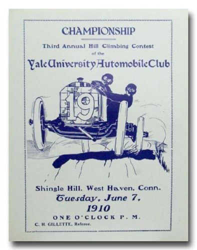 1910 Yale University Hill Climb 3rd Annual poster print