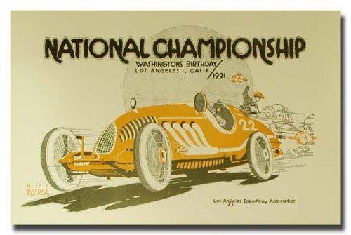 1921 Los Angeles Speedway Board Track Racing poster print
