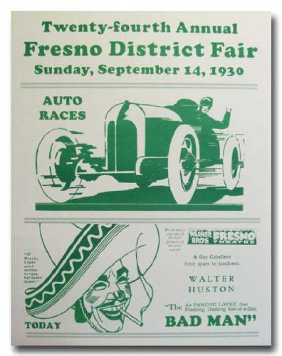 1930 Fresno District County Fair Racing poster print