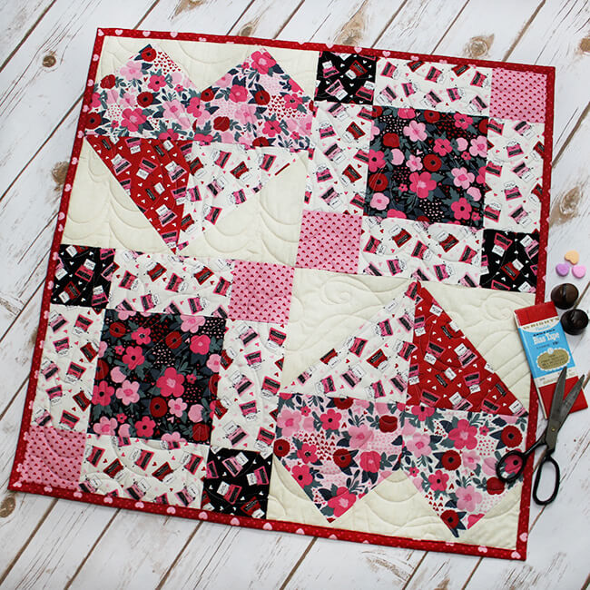 """The Sweetest Heart Table Topper"" Free Pattern designed & from Fort Worth Fabric Studio"