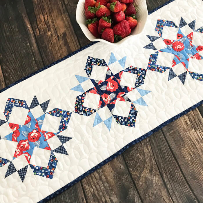 """""""Star Spectacular Table Runner"""" Free Pattern designed by Lindsey Weight from Fort Worth Fabric Studio"""
