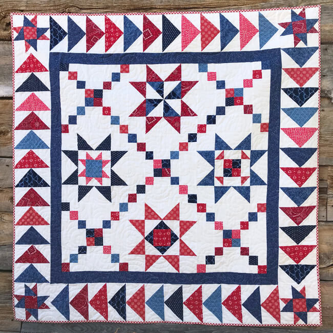 """Star Spangled"" Free Patriotic Quilt Pattern designed by Lindsey Weight from Fort Worth Fabric Studio"