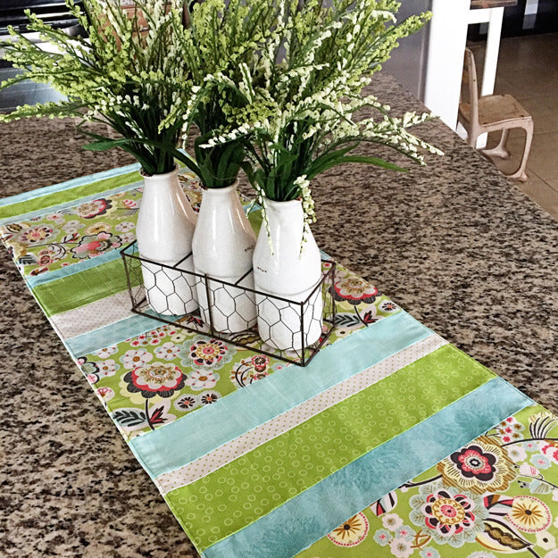 """""""One Hour Strippy Table Runner"""" Free Pattern designed by Lindsey Weight from Fort Worth Fabric Studio"""