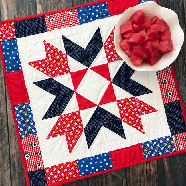 """""""Sunnyside Star Table Topper"""" Free Pattern designed and from by Lindsey Weight from Fort Worth Fabric Studio"""