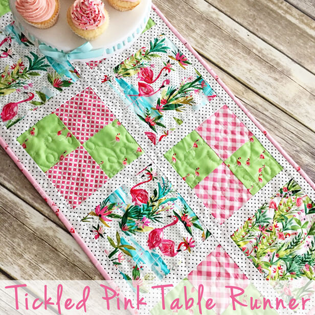 """""""Tickled Pink Table Runner"""" Free Pattern designed by Lindsey Weight from Fort Worth Fabric Studio"""