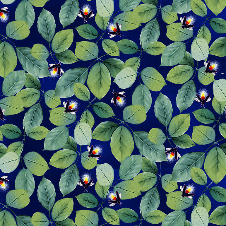 Let Your Light Shine Foliage with Fireflies Navy