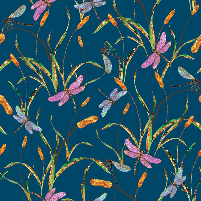 Swan Lake Dragonflies with Cattails Teal